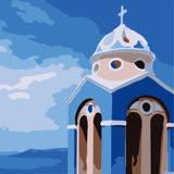 ArtLife藝術生活【DR049】希臘愛情海系列 6_DIY 數字 油畫 彩繪 20*20cm
