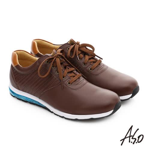 A.S.O 輕旅健步 真皮抗震奈米綁帶休閒鞋(咖啡)