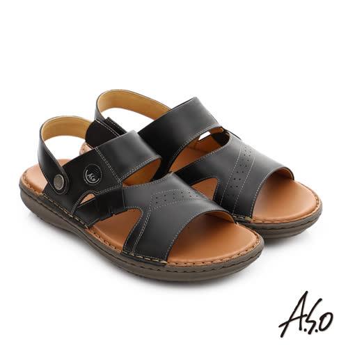 A.S.O 輕量樂活 真皮可調式後帶涼拖鞋(黑)