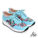 A.S.O 3D超動能 繽紛壓紋牛皮奈米綁帶健走鞋(淺藍)
