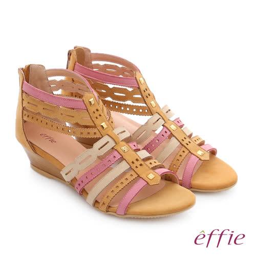 effie 嬉皮假期 小坡跟彩色羅馬楔型涼鞋(卡其)
