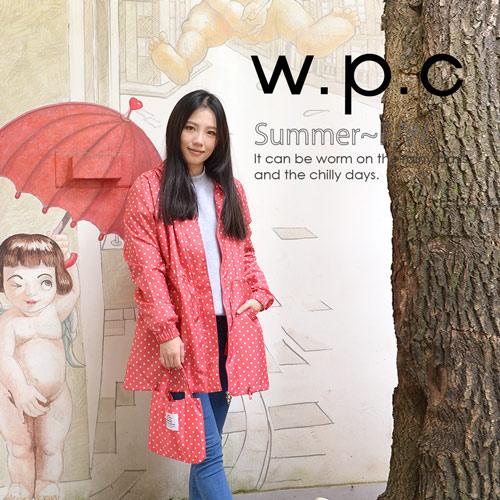 【w.p.c】抽繩收腰款。時尚雨衣/風衣(R9022)_桃紅