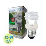 【飛利浦PHILIPS】Tornado T2 8W超亮螺旋省電燈泡(2入)