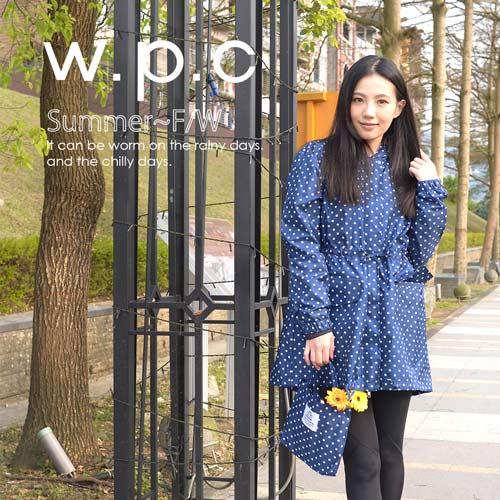 【w.p.c】抽繩收腰款。時尚雨衣/風衣(R9022)_深藍