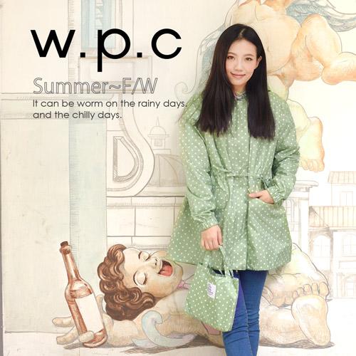 【w.p.c】抽繩收腰款。時尚雨衣/風衣(R9022)_草綠