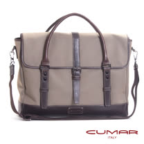 CUMAR 雙提把公事包 (手提/側背兩用)-義大利牛皮配尼龍-附側背帶