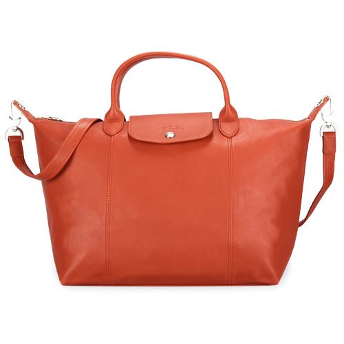 Longchamp Le Pliage Cuir小羊皮短把折疊中型水餃包-磚紅色