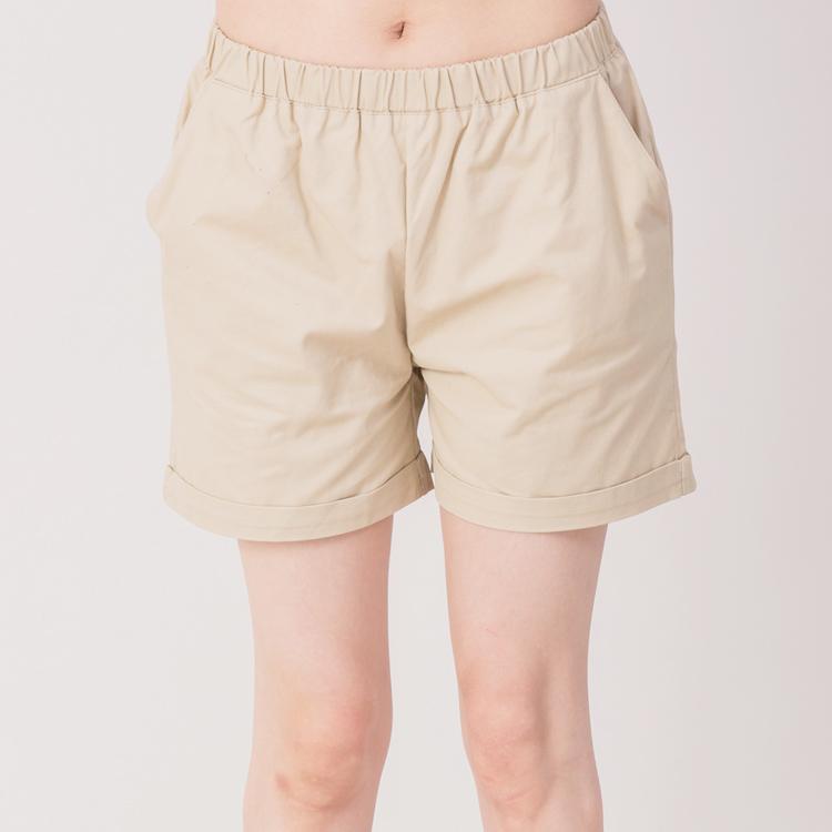 【Stoney.ax】韓版休閒性感滾邊鬆緊短褲-杏色