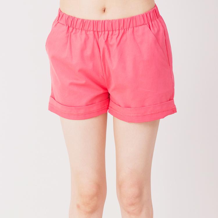 【Stoney.ax】韓版休閒性感滾邊鬆緊短褲-西瓜紅色
