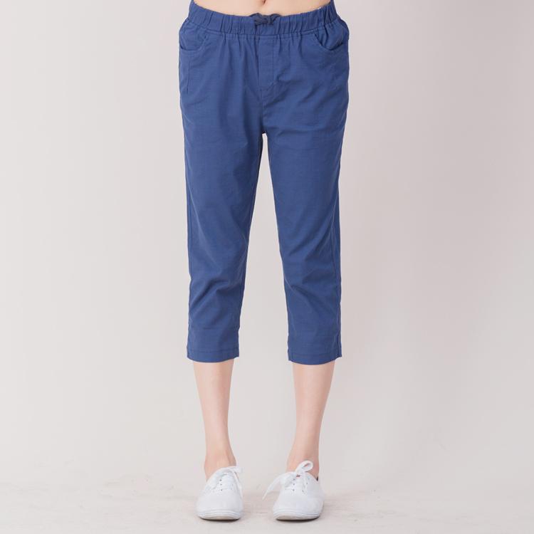 【Stoney.ax】韓版百搭休閒寬鬆純色七分褲-藍色