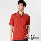 【遊遍天下】台灣製男款抗UV吸排汗機能POLO衫(桔紅 品特)