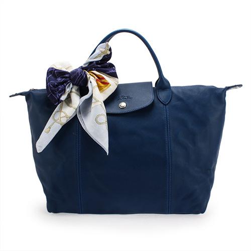 Longchamp Le Pliage Cuir小羊皮短把折疊中型水餃包-藍色