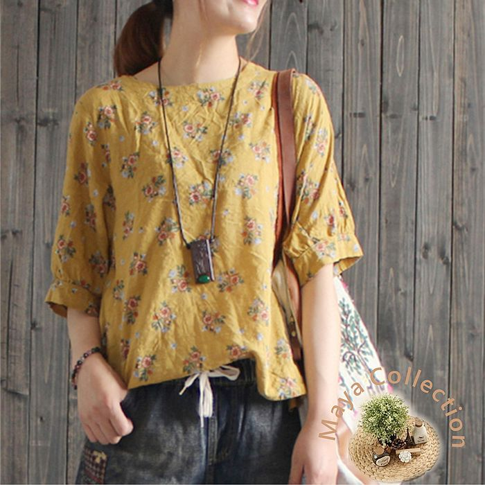 【Maya Collection-現貨】寬版軟料燈瓏袖鄉村印花衫-3色