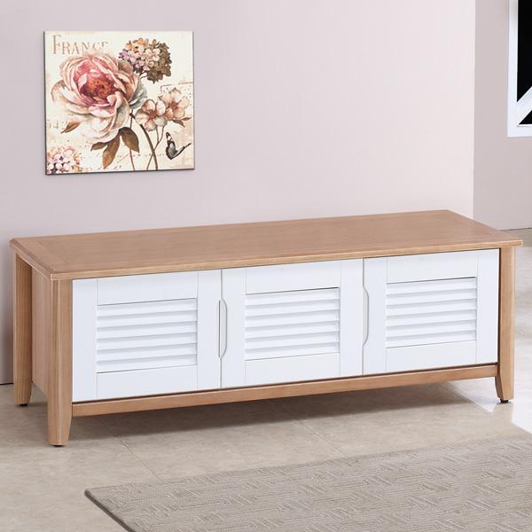 ~Homelike~貝琳4尺百葉坐式鞋櫃~原木雙色
