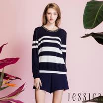 JESSICA - 歐美手工珠飾條紋上衣(藍)