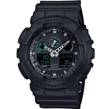 卡西歐 CASIO G-SHOCK 霧黑時尚運動錶 GA-100MB-1A 黑x綠