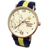 【迪士尼】超薄玫瑰金小熊維尼織帶手錶