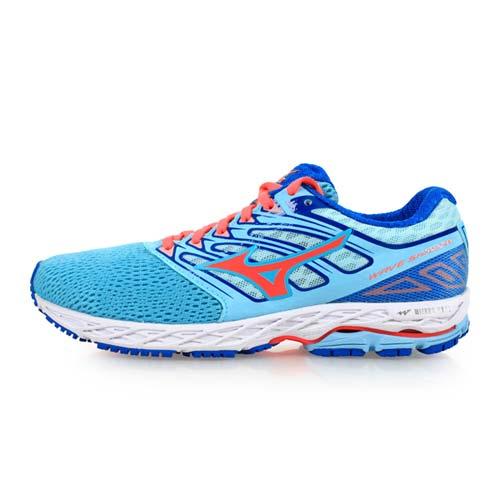 (女) MIZUNO WAVE SHADOW 慢跑鞋-慢跑 路跑 美津濃 淺藍粉橘