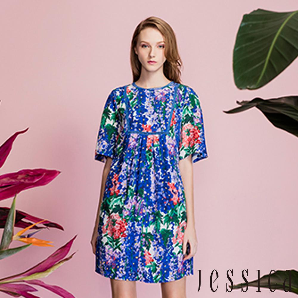 JESSICA-歐美渡假風圓領花卉連身洋裝