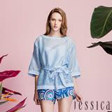 JESSICA-圓領綁帶透膚縷空造型上衣