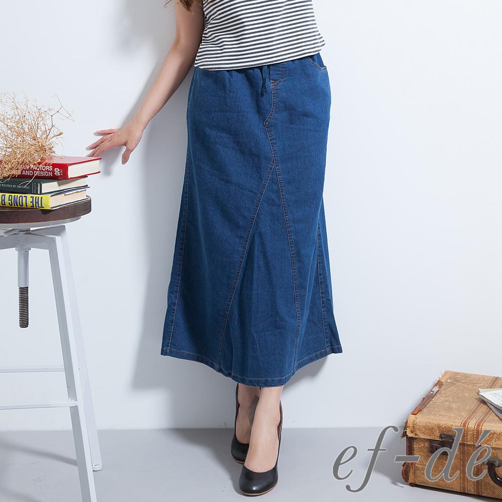 【ef-de】激安 鬆緊腰綁帶微開衩牛仔裙(深藍/藍/墨藍)