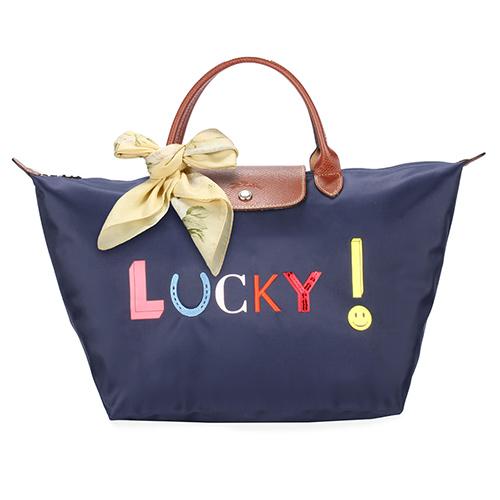 LONGCHAMP Lucky 字樣短提把中型水餃包-海軍藍