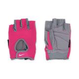 (女) NIKE 用基礎健力手套-健身 自行車 短指手套 重量訓練 桃紅白 L