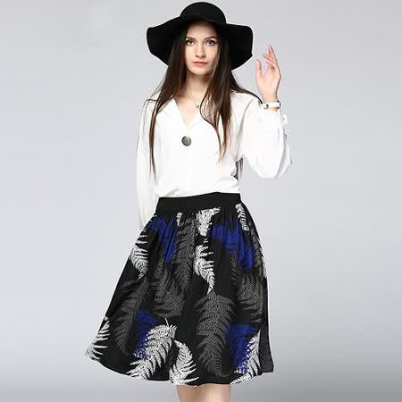 【KVOLL】復古印花A字顯瘦半身裙 -friDay購物