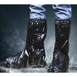 【PS Mall】雨鞋套 鬆緊帶重覆用高筒防水鞋套 靴袋 黑色款 2雙 (J1172)