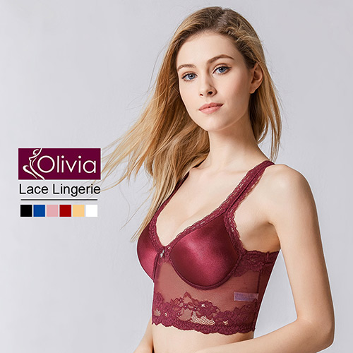 【Olivia】無鋼圈性感無痕蕾絲美背薄款內衣(酒紅)