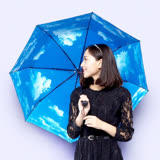 【PS Mall】 藍天白雲太陽傘 防曬防紫外線陽傘 黑膠傘 (J2421)
