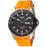 MIDO 美度 海洋之星 動力儲存80專業200米潛水機械錶(灰x橘/42mm) M0264304706100
