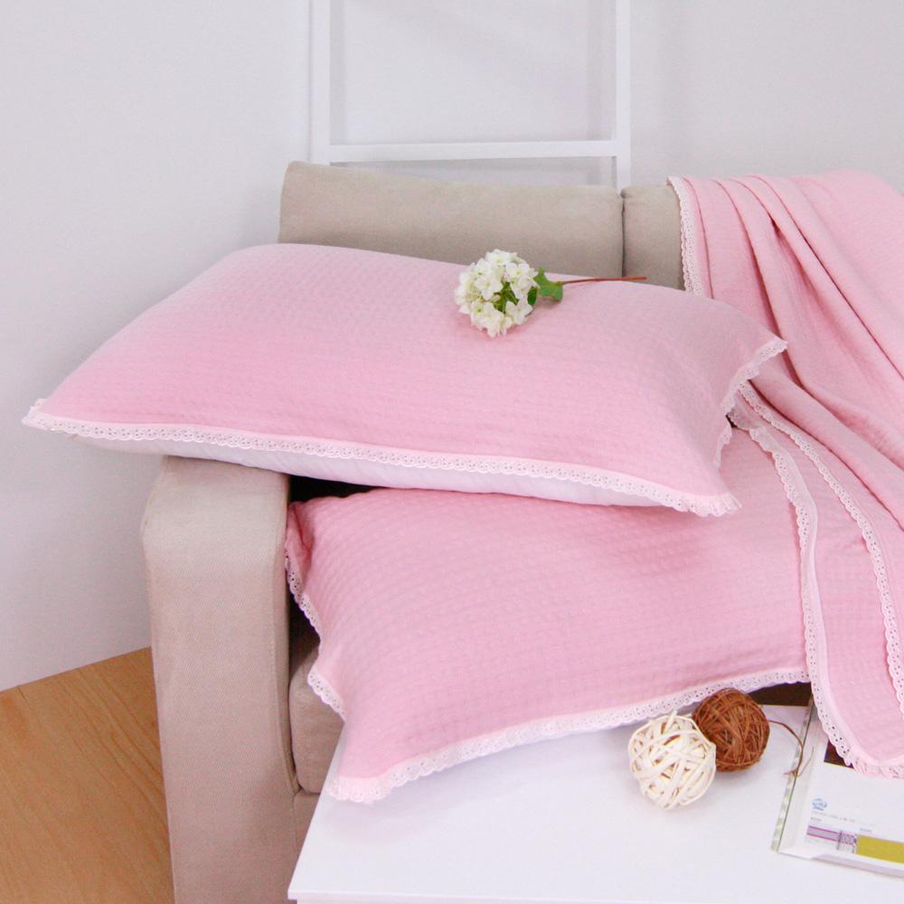 鴻宇HongYew 台灣製 棉針織枕巾2入-粉