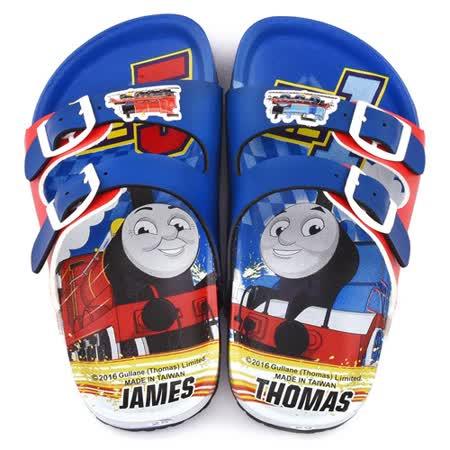 童鞋城堡-湯瑪士 中童 造型軟木風格拖鞋TH2081-藍