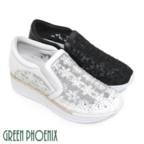 【GREEN PHOENIX】透膚紗網仿刺繡花朵壓克力水鑽內增高休閒鞋