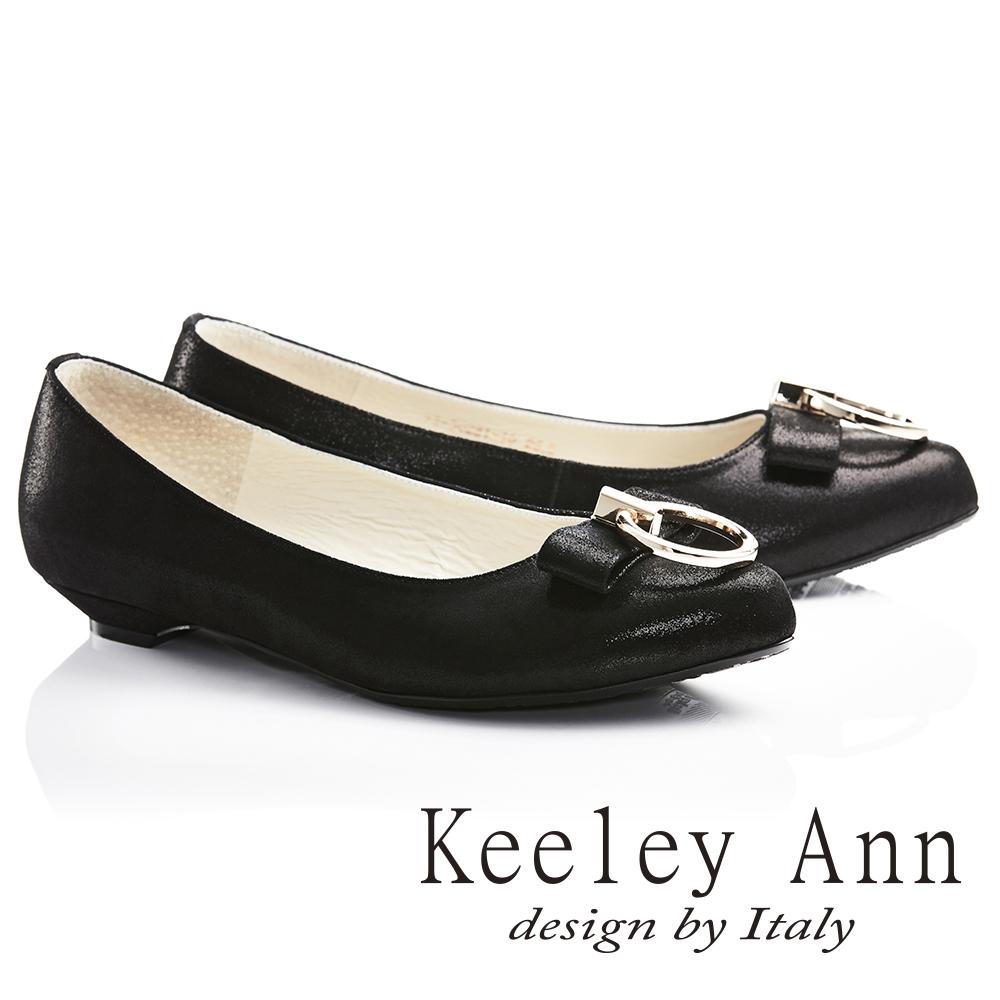 Keeley Ann氣質甜美~金屬拉環蝴蝶結OL全真皮平底鞋(黑色735028110)
