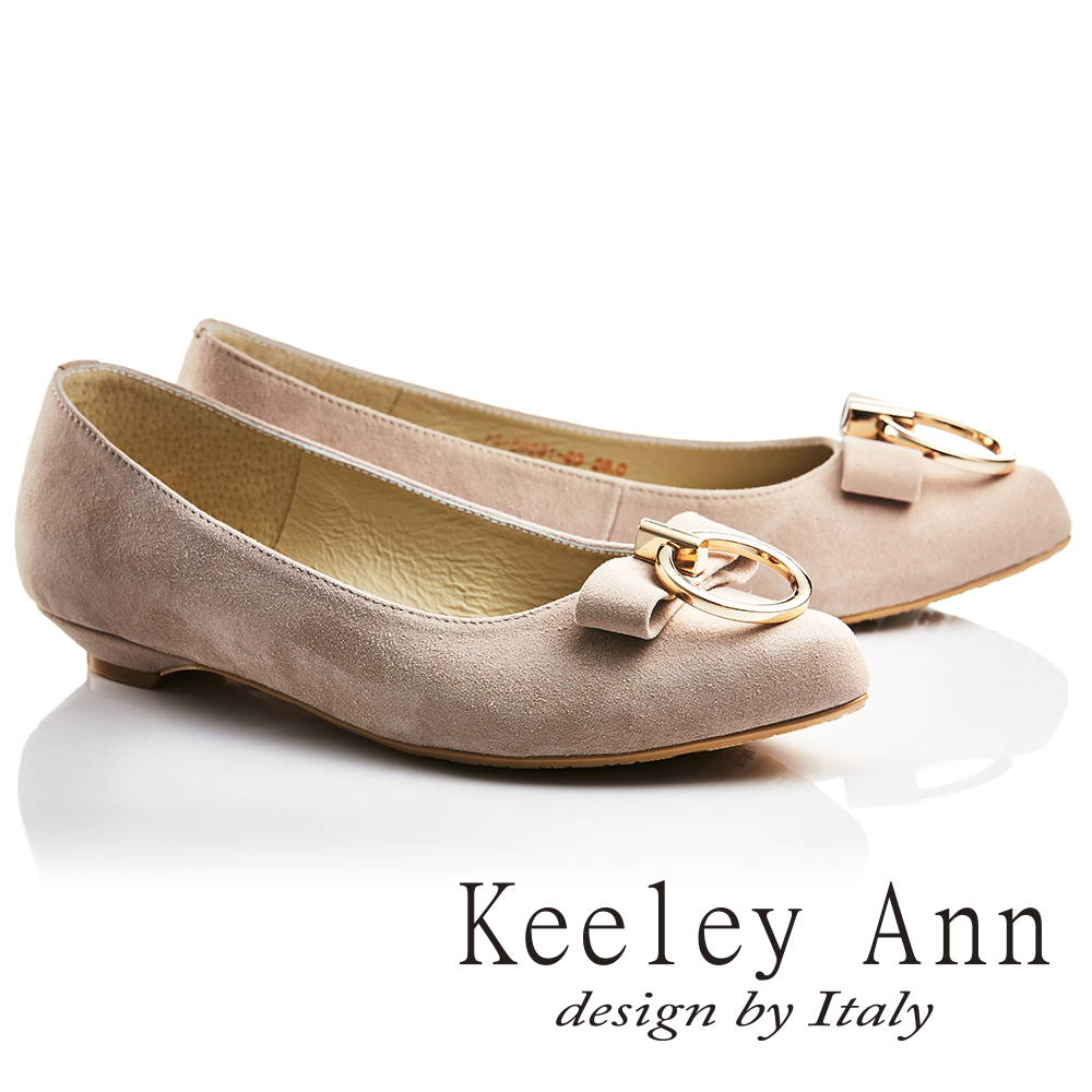 Keeley Ann氣質甜美~金屬拉環蝴蝶結OL全真皮平底鞋(香檳色735028190)