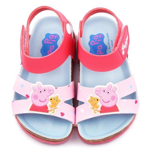 童鞋城堡-粉紅豬小妹 佩佩豬 中童 軟木風格涼鞋PG4501-粉