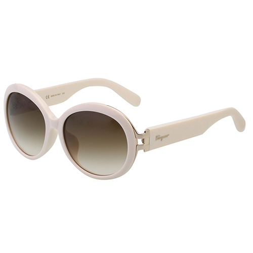 Salvatore Ferragamo- 復古圓框 太陽眼鏡(粉白色)SF799SA