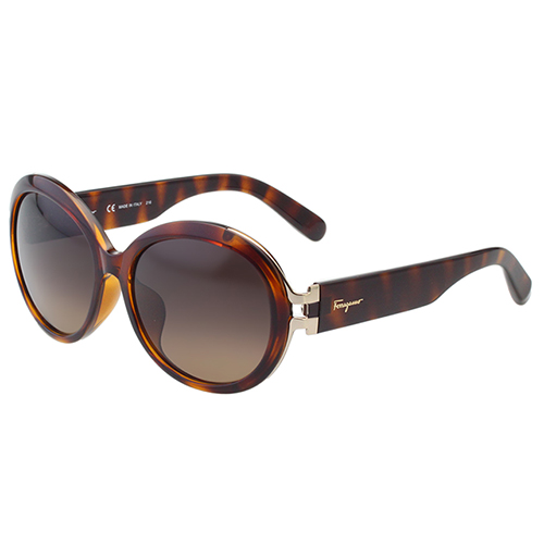 Salvatore Ferragamo- 復古圓框 太陽眼鏡(琥珀色)SF799SA