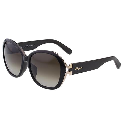 Salvatore Ferragamo 復古圓框 太陽眼鏡-黑色