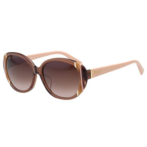 Salvatore Ferragamo太陽眼鏡- 優雅圓框(粉膚色)