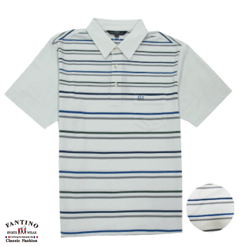 【FANTINO】男裝  休閒條速吸排汗POLO衫(附大尺碼) 531128