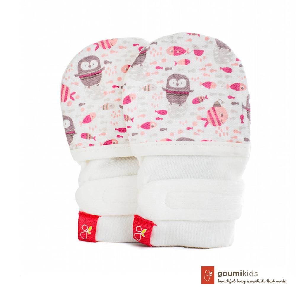 美國 GOUMIKIDS 有機棉嬰兒手套 (小企鵝-粉色)
