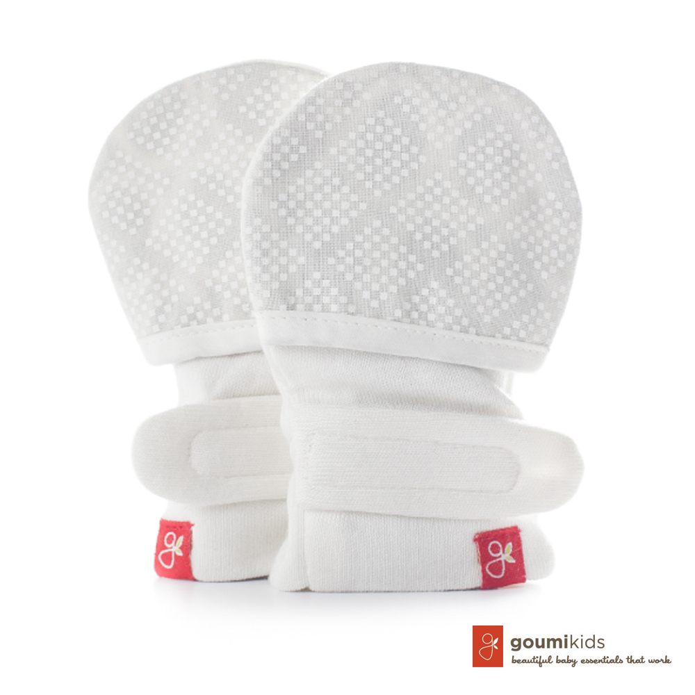 美國 GOUMIKIDS 有機棉嬰兒手套 (菱形點點)