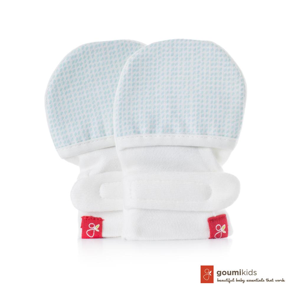 美國 GOUMIKIDS 有機棉嬰兒手套 (點點-淺綠)