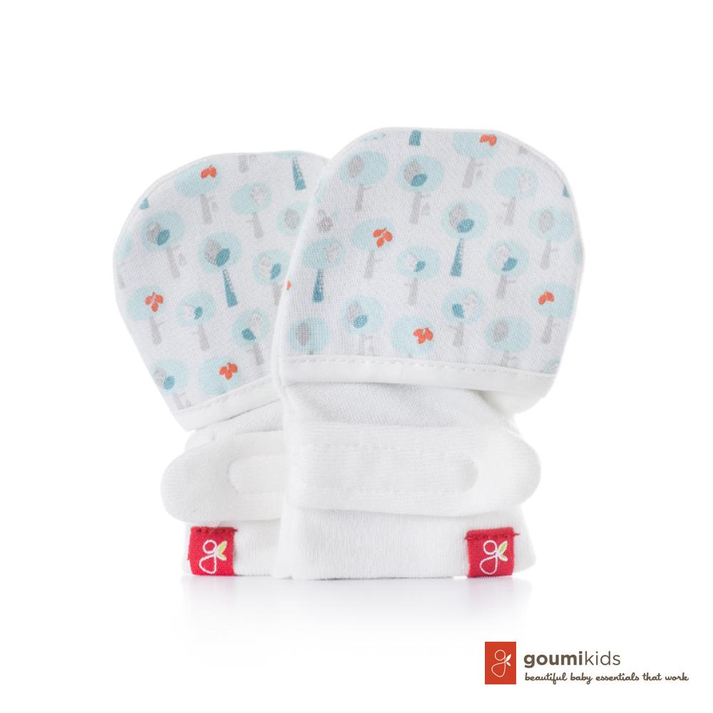 美國 GOUMIKIDS 有機棉嬰兒手套 (愛心小樹-淺綠)