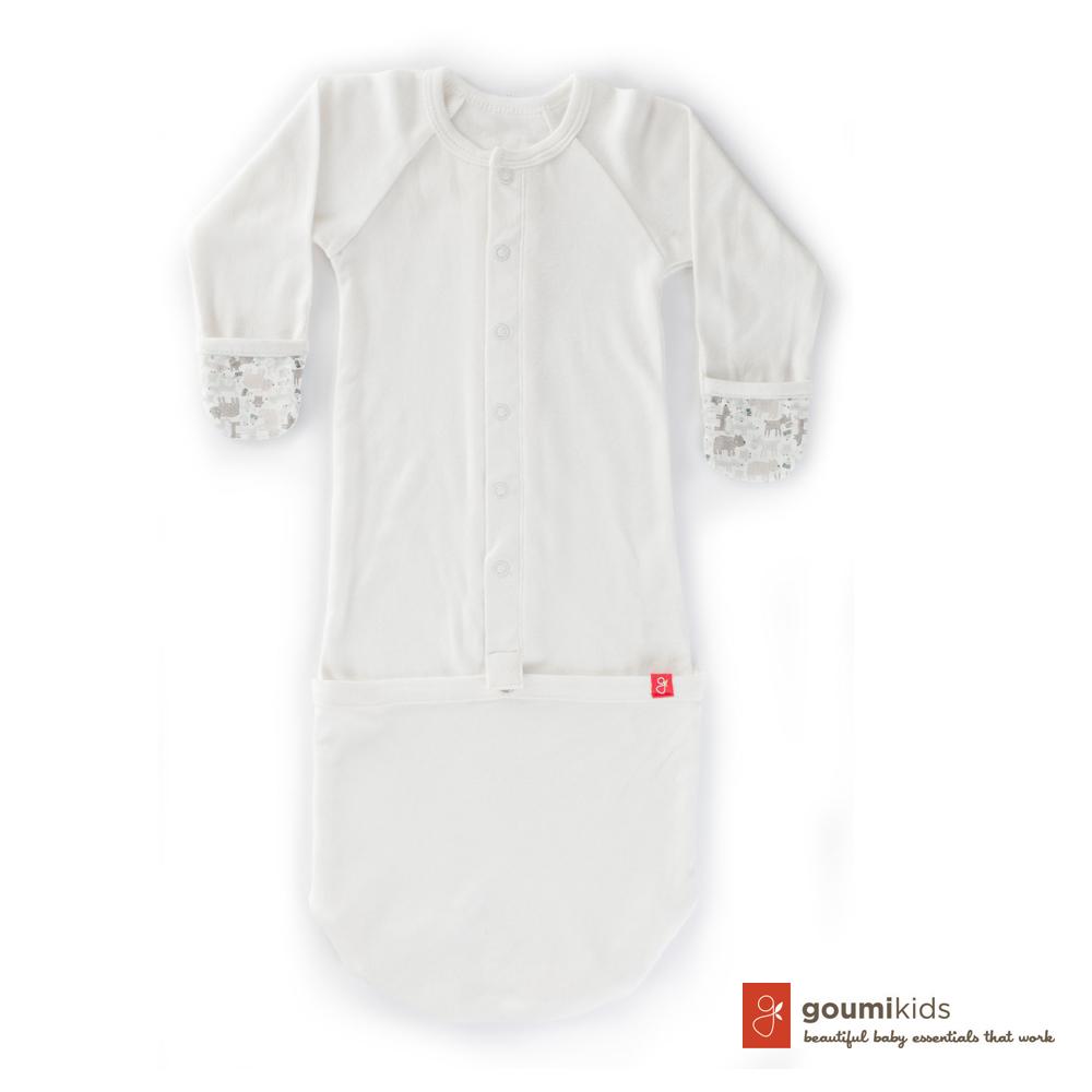 美國 GOUMIKIDS 有機棉嬰兒睡袍 (叢林動物_淺灰)