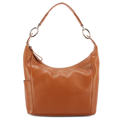 Longchamp Le Foulonne 荔枝紋牛皮手提肩背包-棕色