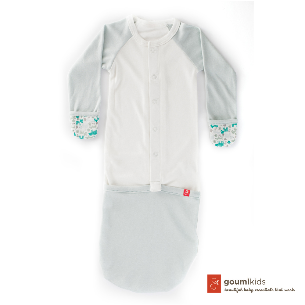 美國 GOUMIKIDS 有機棉嬰兒睡袍 (叢林動物-淺綠)
